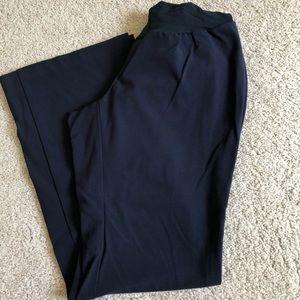 Full panel navy blue maternity dress pants slacks